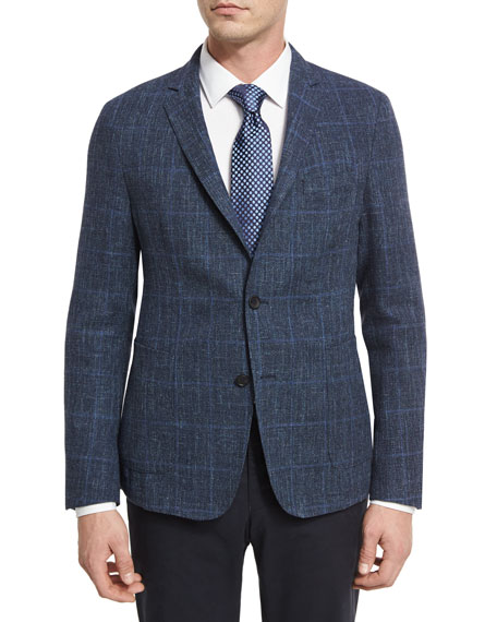 Basketweave Windowpane Two-Button Sport Coat, Blue
