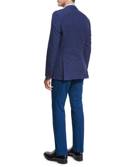 Faded Check Two-Button Sport Coat, Bright Blue