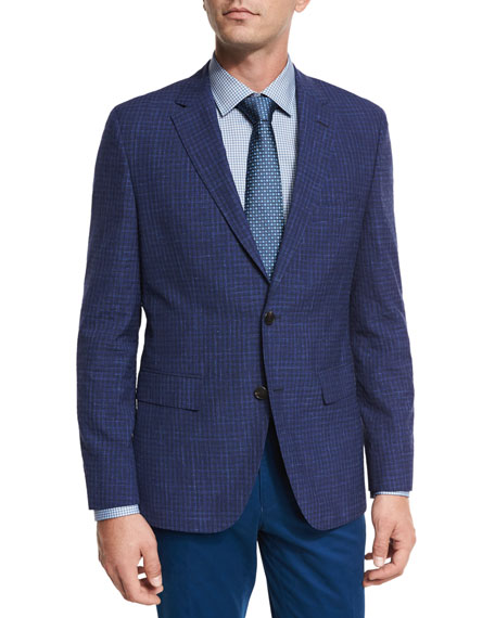 BOSS Faded Check Two-Button Sport Coat, Bright Blue