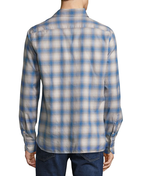 Plaid Oxford Shirt, Bright Blue/Olive