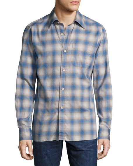 TOM FORD Plaid Oxford Shirt, Bright Blue/Olive