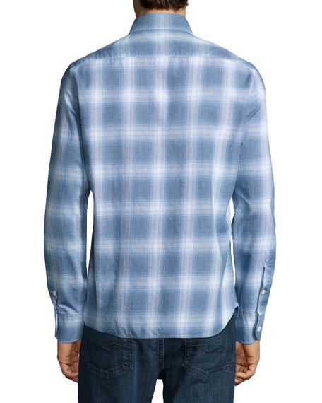 Miniature-Plaid Cotton Button-Front Shirt, Navy