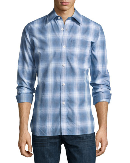 Miniature-Plaid Cotton Button-Front Shirt, Navy