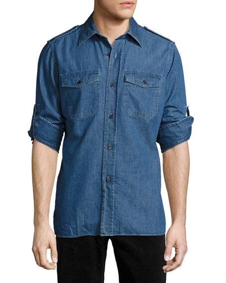 TOM FORD Denim Military Shirt, Medium Blue