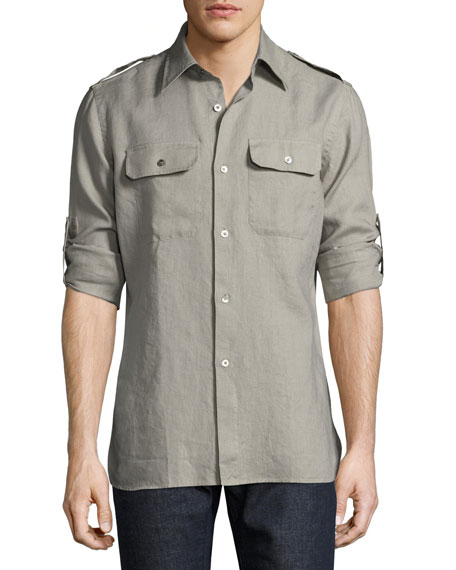 Two-Pocket Linen Shirt, Gray-Green