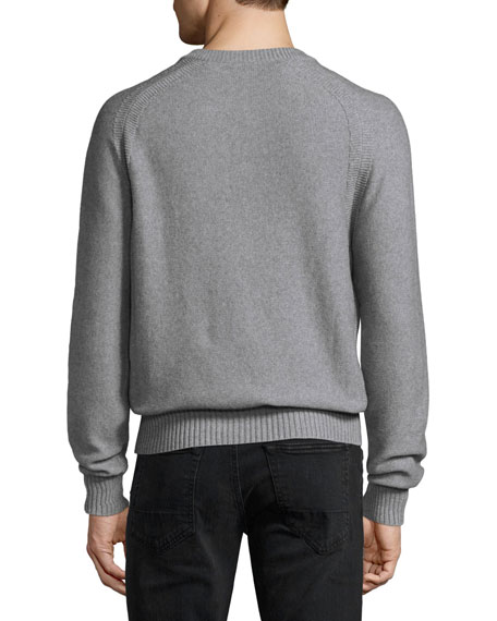 Raglan Cotton-Cashmere Blend Henley Sweater, Gray