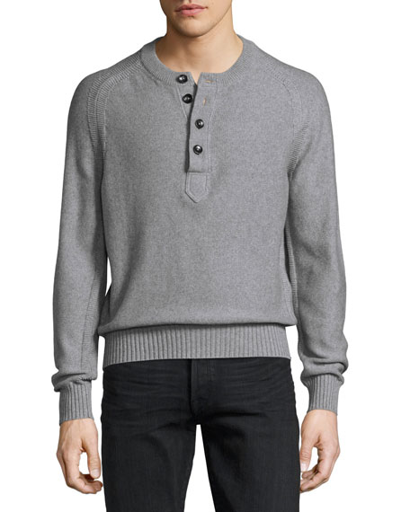 TOM FORD Raglan Cotton-Cashmere Blend Henley Sweater, Gray