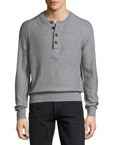 TOM FORD Raglan Cotton-Cashmere Blend Henley Sweater, Gray