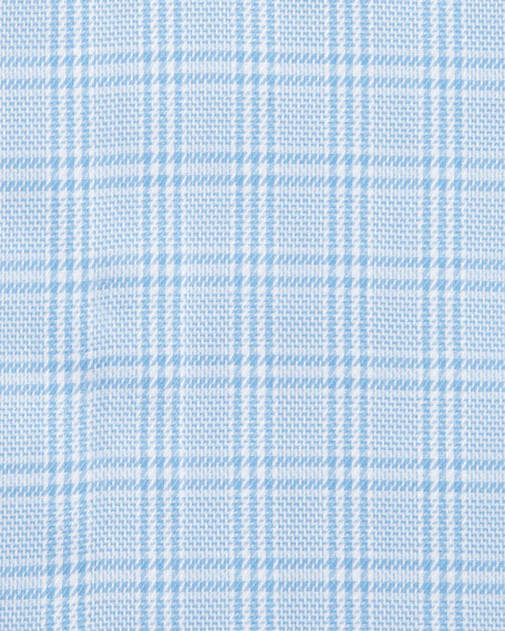 Textured Glen Plaid Dress Shirt, Blue/White