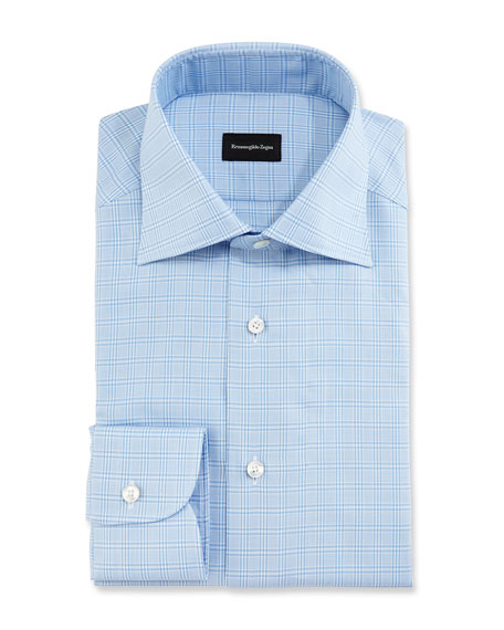 Ermenegildo Zegna Textured Glen Plaid Dress Shirt, Blue/White