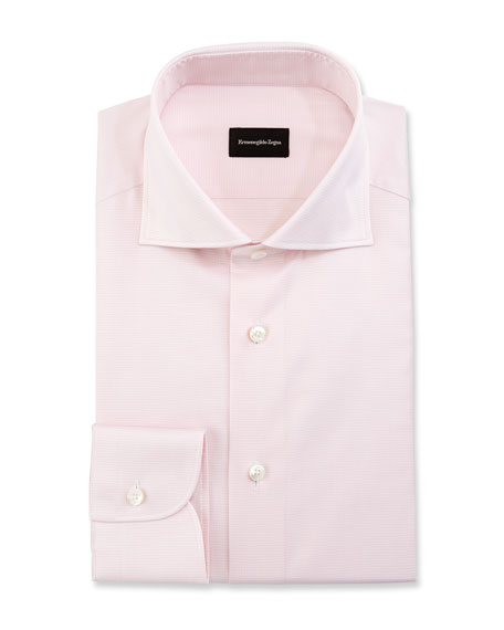 Ermenegildo Zegna Micro-Gingham Dress Shirt, Pink