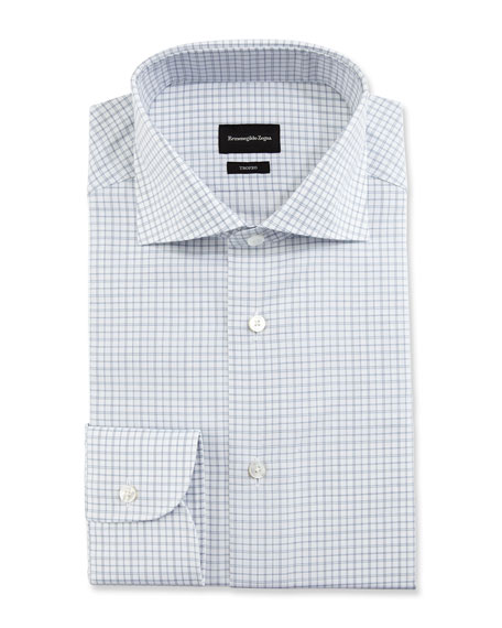 Ermenegildo Zegna Trofeo Box Plaid Dress Shirt, White/Navy