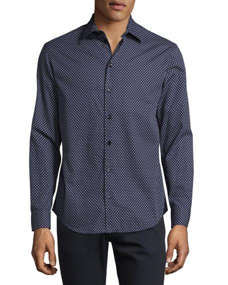 Triangle-Print Sport Shirt, Navy/White