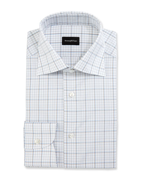 Ermenegildo Zegna Large-Check Dress Shirt, White/Blue/Brown