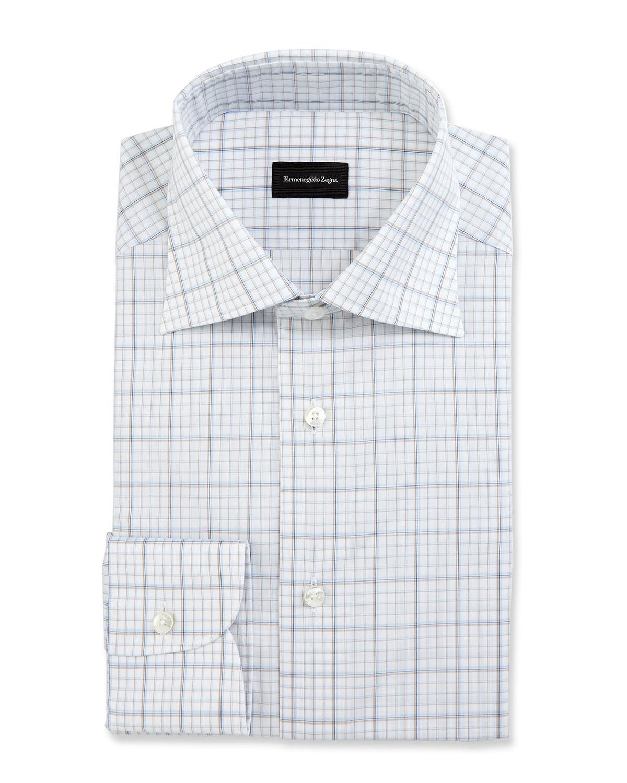Ermenegildo Zegna Large Check Dress Shirt Whitebluebrown Neiman