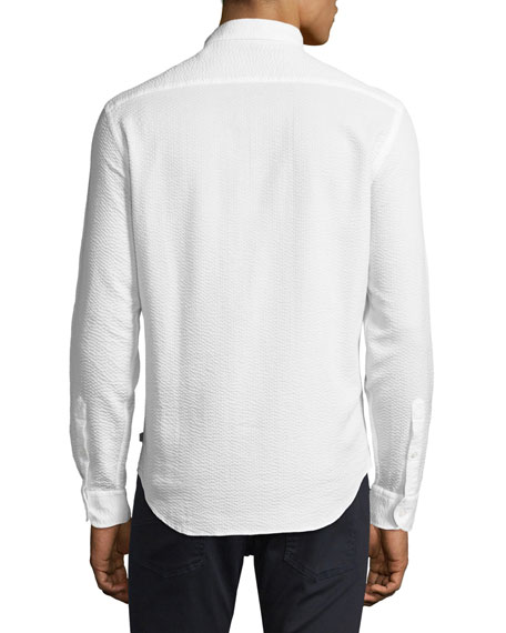 Image 2 of 2: Textured Seersucker Sport Shirt, White