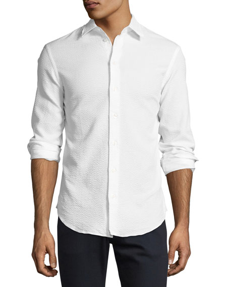 Image 1 of 2: Textured Seersucker Sport Shirt, White