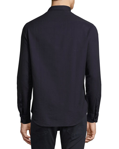 Textured Seersucker Sport Shirt, Navy Blue