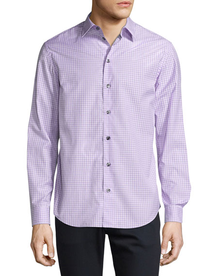 Armani Collezioni Box-Check Plaid Sport Shirt, Lavender
