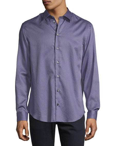 Armani Collezioni Micro-Box Printed Sport Shirt, Lavender