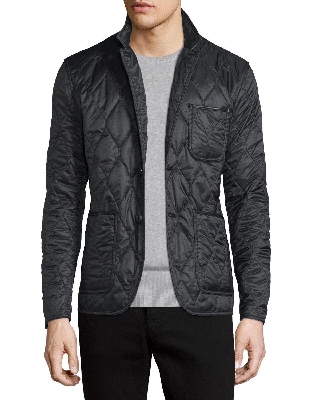 Mens Stand Collar Jacket | Neiman Marcus : mens long quilted jacket - Adamdwight.com