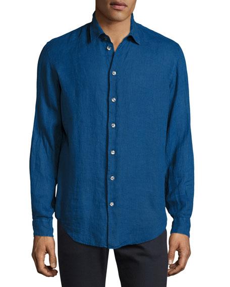 Armani Collezioni Linen Sport Shirt, Electric Blue