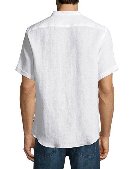 Armani Collezioni Banded Collar Linen Sport Shirt White