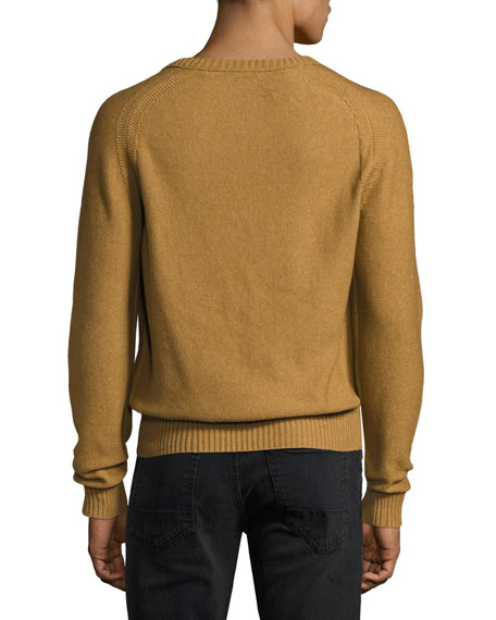 Raglan Cotton-Cashmere Blend V-Neck Sweater, Tobacco