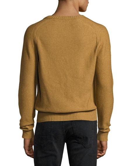 Raglan Cotton-Cashmere Blend V-Neck Sweater, Tobacco