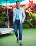 Raglan Cotton-Cashmere Blend V-Neck Sweater, Sky Blue