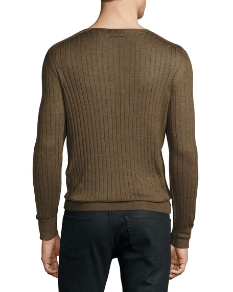 Lightweight Cashmere-Silk Ribbed Henley Sweater, Rust