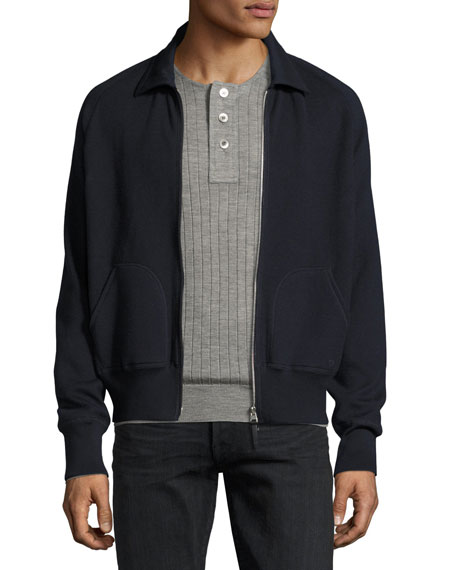 Zip-Front Shirt-Collar Knit Jacket, Navy
