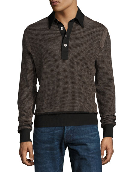 TOM FORD Textured Jacquard Polo Sweater, Black/Tan
