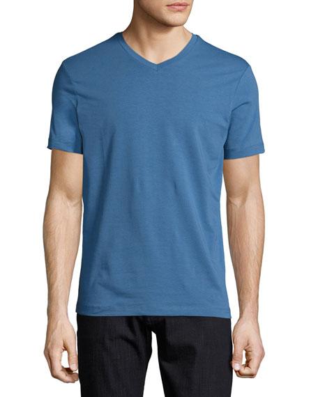 Armani Collezioni Jersey V-Neck T-Shirt, Blue