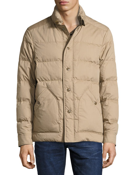 Snap-Front Quilted Puffer Jacket, Tan