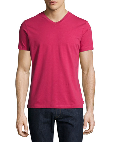 Armani Collezioni Stretch-Cotton V-Neck T-Shirt, Raspberry