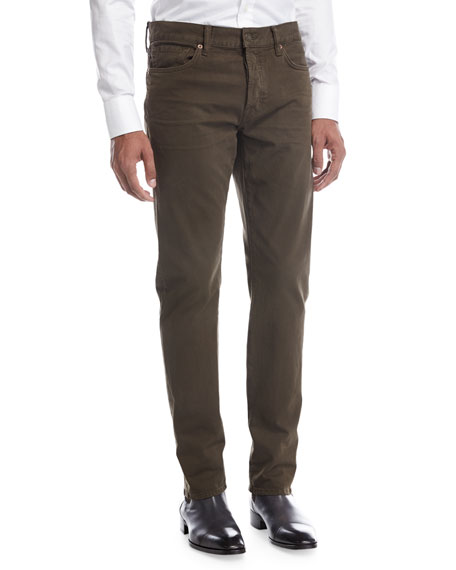 Straight-Fit Denim Jeans, Olive
