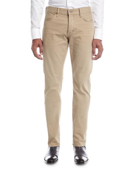 Straight-Fit Denim Jeans, Tan (Brown)