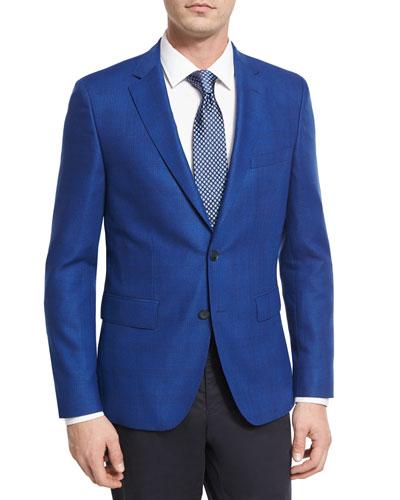 Tonal Glen Plaid Wool Sport Coat, Bright Blue
