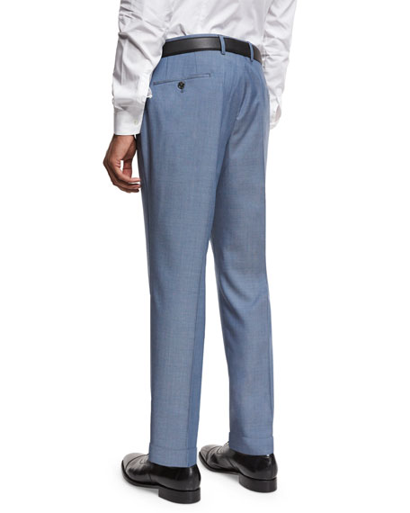 Flat-Front Straight-Leg Wool Trousers, Medium Blue