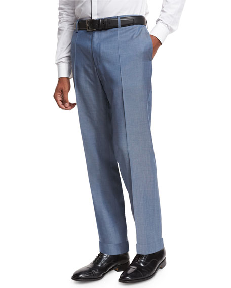 Flat-Front Straight-Leg Wool Trousers, Medium Blue