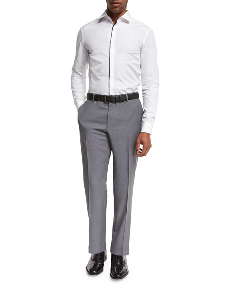 Solid Flat-Front Straight-Leg Trousers, Light Gray