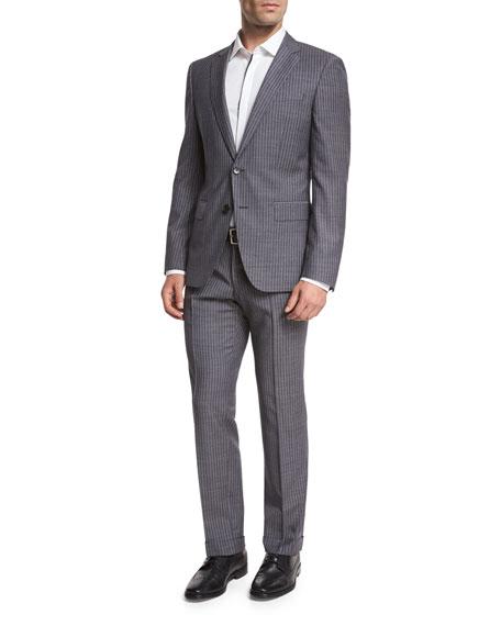 BOSS Pinstripe Wool Two-Piece Suit, Denim Blue