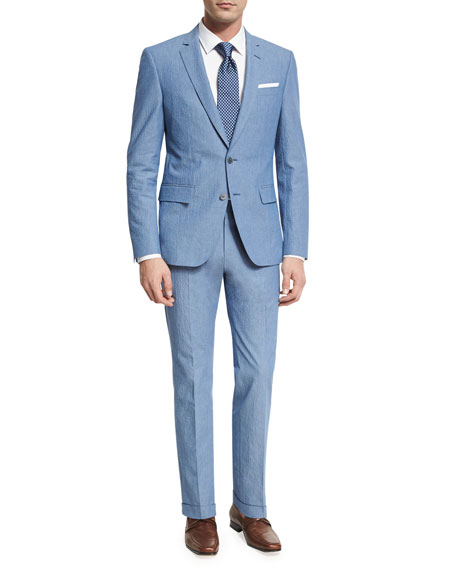 BOSS Textured Two-Piece Suit, Blue