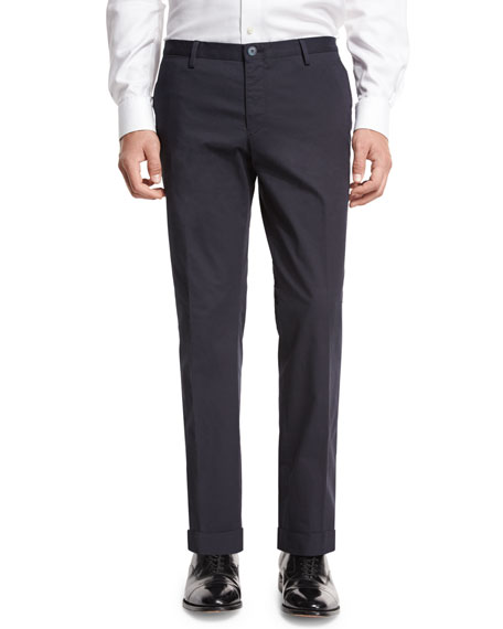 BOSS Stretch-Cotton Flat-Front Trousers, Navy