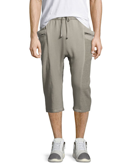 Helmut Lang Terry Cloth Sweat Shorts, Light Gray