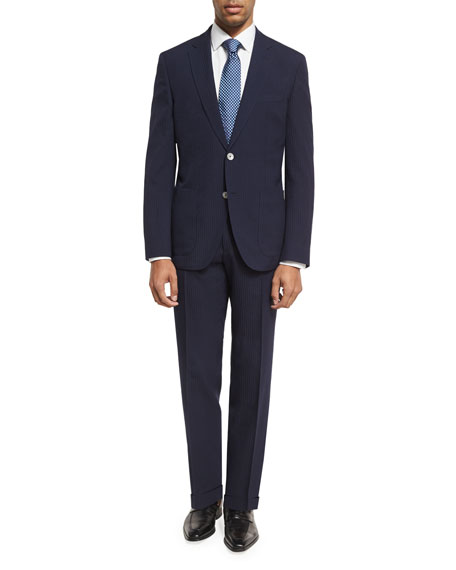 BOSS Grid-Textured Two-Piece Suit, Blue
