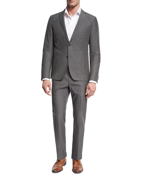 BOSS Cotton Two-Piece Suit, Gray