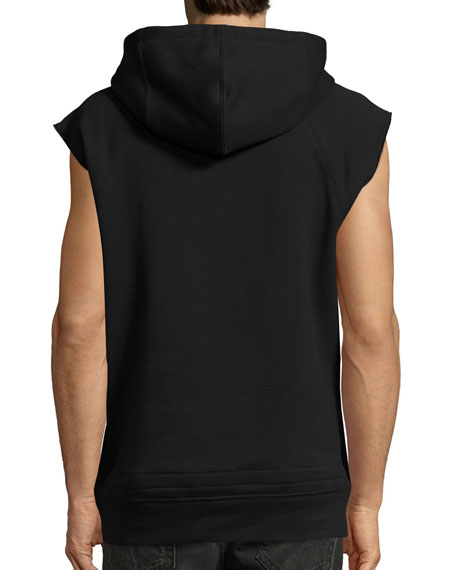 Melted Year Logo Muscle Hoodie, Black
