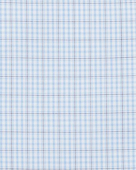 Contemporary-Fit Soft-Check Dress Shirt, White/Navy/Blue